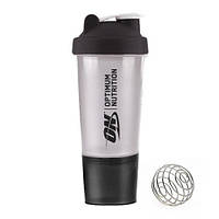 Optimum Nutrition Shaker 2 in 1 with metal ball 500 ml black