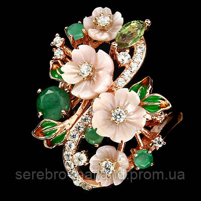 Серебряное позолоченное кольцо 925 пробы с натуральным перламутром, изумрудом и турмалином Размер 17,5