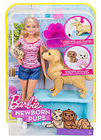 """Набор кукла Барби блондинка """"Малыши-щенята"""" Barbie (FBN17), фото 1"""