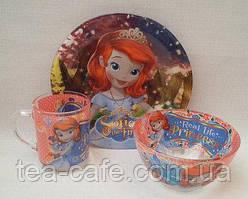 Детский набор посуды Принцесса София (3 предмета)