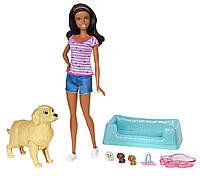 "Набор кукла Барби брюнетка ""Малыши-щенята"" Barbie (FBN17)"