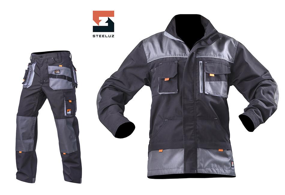 Костюм робочий з брюками SteelUZ, світло-сіра оздоблення