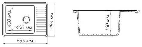 Кухонная гранитная мойка FOSTO 64x49 SGA-203 метель, фото 3