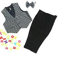 Детский нарядный костюм, на. 0,6 мес-3 года, серый+черный