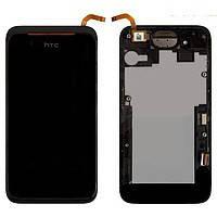 Дисплей (экран) для HTC 210 Desire Dual Sim + с сенсором (тачскрином) и рамкой черный Оригинал