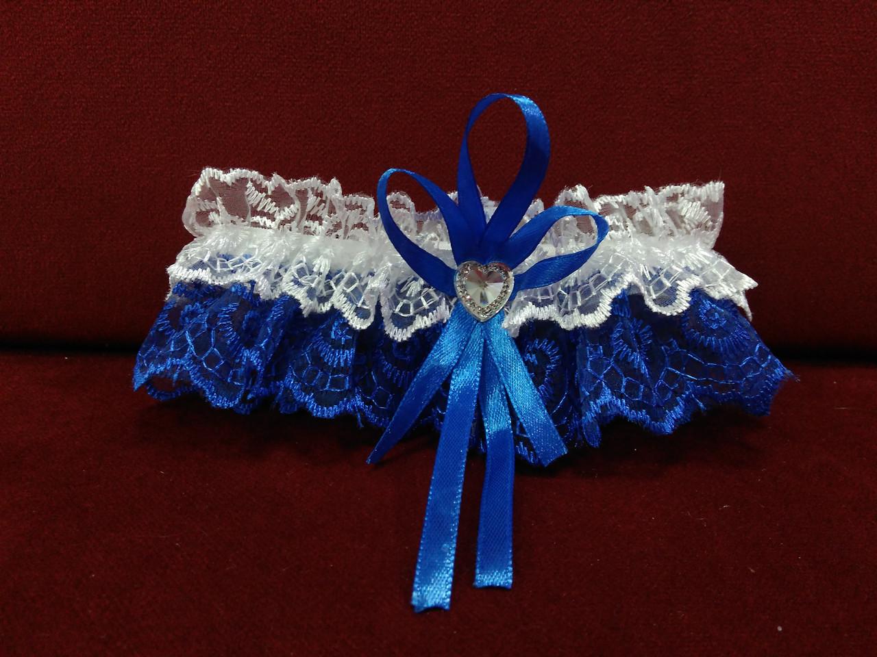 Свадебная подвязка для невесты белая с синим