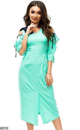 Летнее платье миди приталенное с разрезом рукав три четверти бенгалин мятное, фото 2