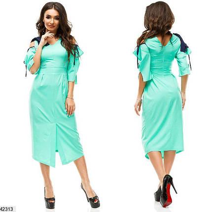 8d4ae14b9a3 Летнее платье миди приталенное с разрезом рукав три четверти бенгалин  мятное
