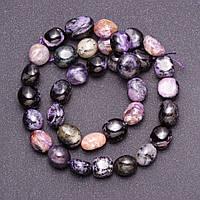 Бусины из натурального камня Чароит галтовка d-10мм(+-)нитка L-39см