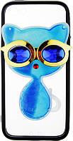 Чехол-накладка TOTO TPU Case Decorative Stones IPhone 5/5S/SE Cat Blue, фото 1