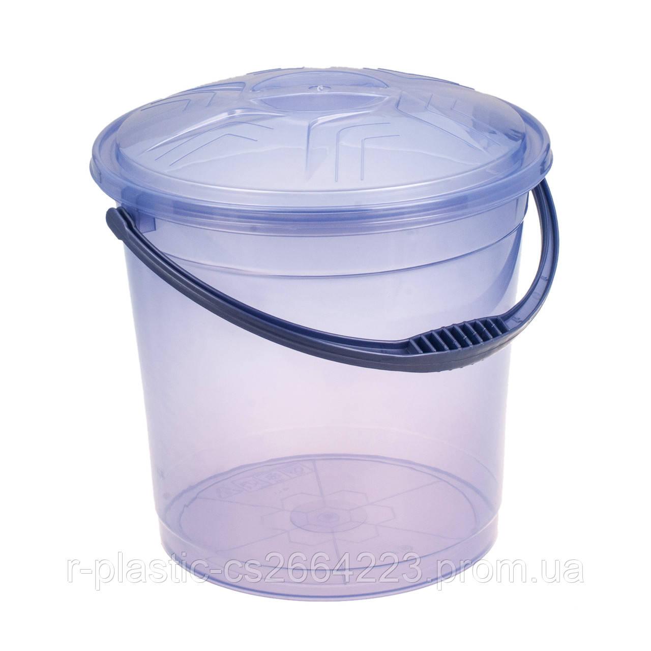 Ведро прозрачное с крышкой 10л R-Plastic фиолетовое