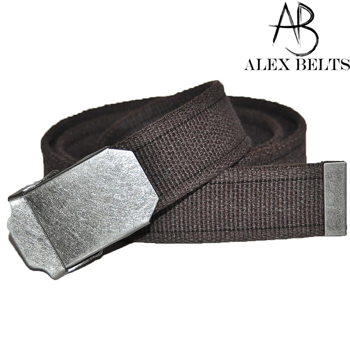 Ремень мужской джинсовый тканевый (коричневый) 40 мм-купить оптом в Одессе