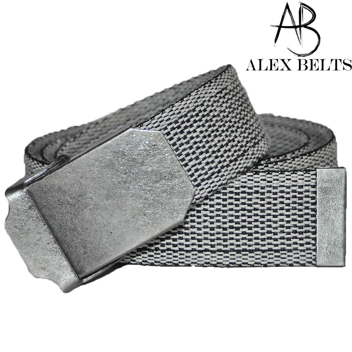 Ремень мужской джинсовый тканевый (светло-серый) 40 мм-купить оптом в Одессе