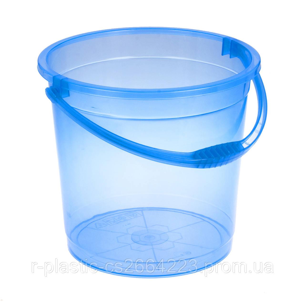 Відро прозоре без кришки 10л R-Plastic блакитне