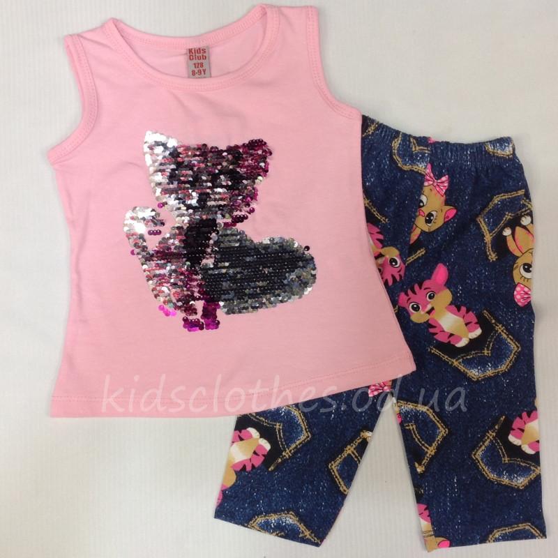 Костюм-двойка летний для девочек   Kitten    светло-розовый с пайетками 2-5  лет 96223af500b35