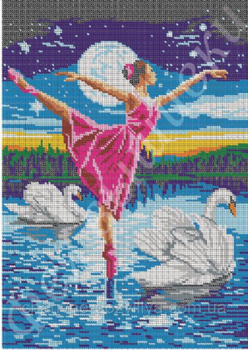 """Схема для вышивки бисером на габардине """"Балерина"""" (полная зашивка)"""