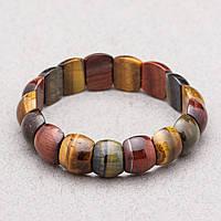 Браслет натуральный камень Тигровый, Бычий, Соколиный глаз