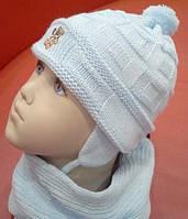Комплект зимний Мишутка: шапка, шарф, варежки-царапки