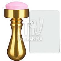 Штамп для стемпинга силиконовый розовый со скребком с металлической золотистой ручкой