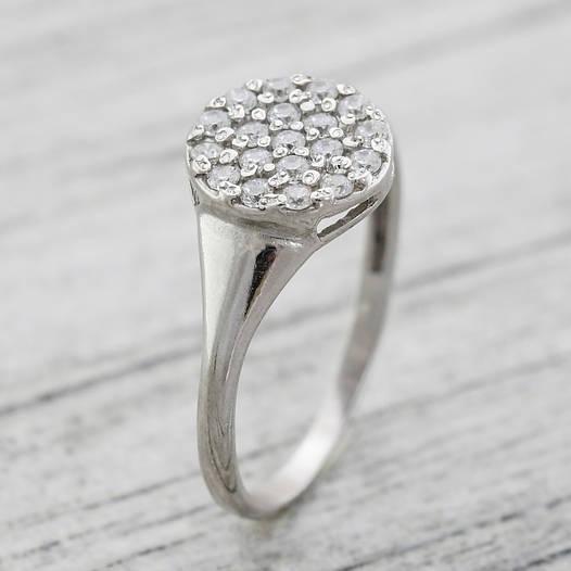 """Серебряное кольцо """"Россыпь диамантов"""", вставка белые фианиты, вес 1.86 г, размер 18"""