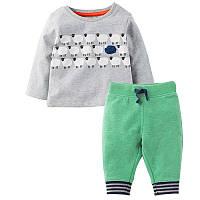 Костюм для мальчика 2 в 1 из натурального хлопка штанишки и кофта Jumping Beans Отара Серый с зеленым (46204)