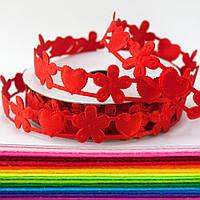 """(10 ярдов) Лента резная """"Сердечки+Цветочки красные"""" ширина 1,5-2,0см. Цена за бобину ≈ 9,15 метра"""