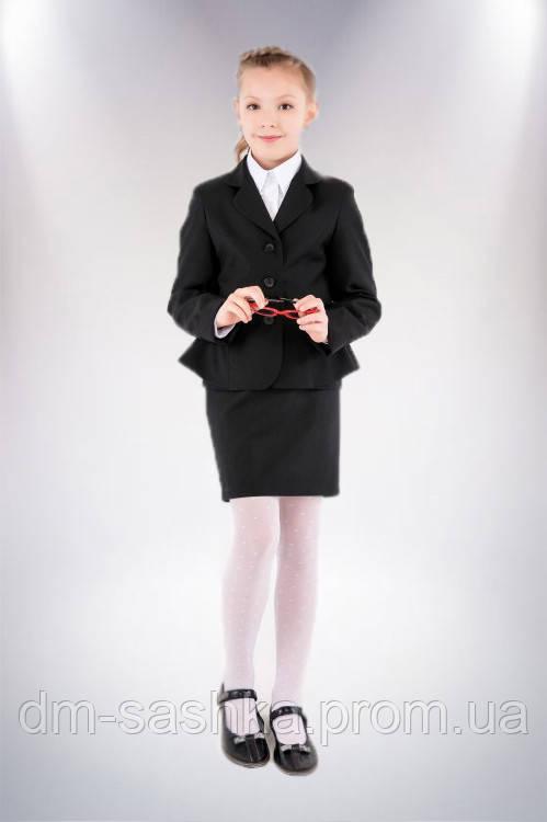 Жакет школьный черный с басками