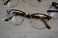 Имиджевые очки с прозрачной линзой в стиле клабмастер Леопард