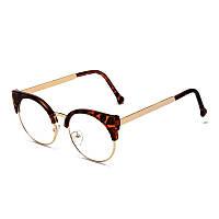 Круглые имиджевые очки в стиле клабмастер Леопард