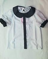 Блузка школьнаяподростковаяскоротким рукавомдля девочки 8-11лет, белая с черным, мелкий горох