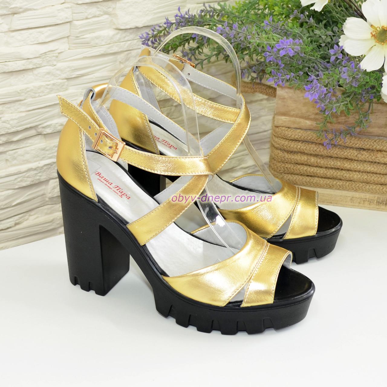 d646d5f20b6b Босоножки женские на высоком каблуке, из натуральной кожи золотого цвета