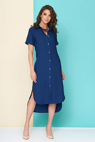 """Женское дневное платье макси из льна """"L 101"""" (синее), фото 2"""