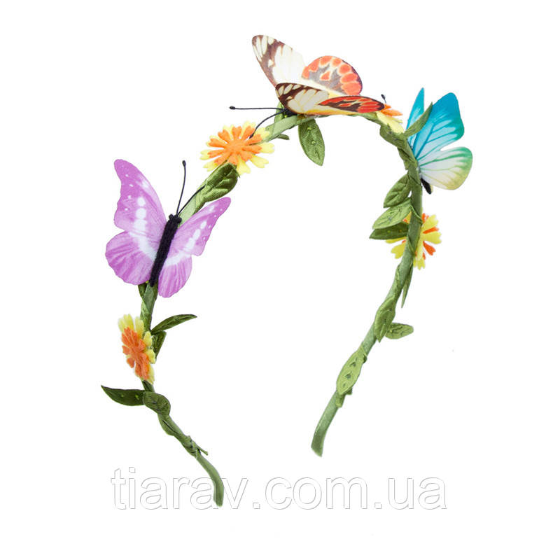 Обруч для волос ободок с бабочками и цветами