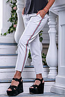 Женские летние свободные белые брюки, размеры от 42 до 50, костюмка
