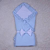 Голубой летний конверт-одеяло на выписку для мальчика Нежность