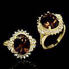 Серебряное кольцо 925 пробы с натуральным дымчатым кварцем Размер 17