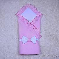 Розовый летний конверт-одеяло на выписку для девочки Нежность