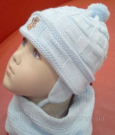 Шапка с шарфом и варежками Мишутка Белый