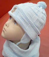 Шапка с шарфом и варежками Мишутка Белый, фото 1