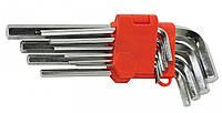 Набор ключей шестигранных L-образных 9 шт., 1.5-10 мм, удлиненных