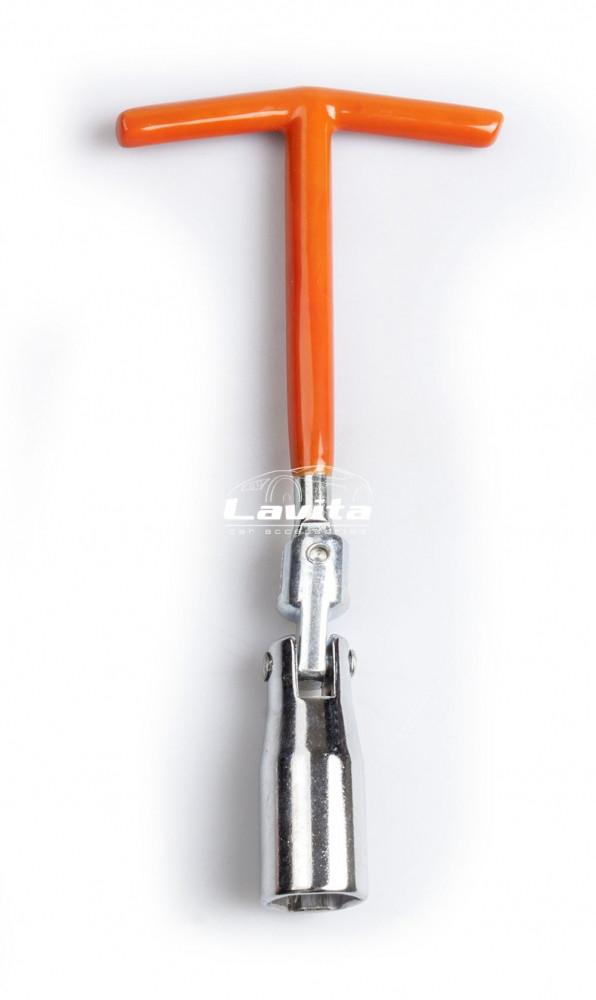 Ключ свечной с шарниром T-образный 16 мм, длина 200 мм, усиленный