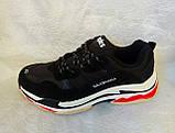 Мужские кроссовки Balenciaga Triple s черные c белым, фото 3