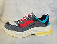 Мужские кроссовки Balenciaga Triple s cерые с белым , красным, фото 1
