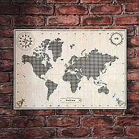 Карта світу з фанери, перфорована, декорована компасом 66,5*47 см