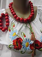Бусы  женские из дерева с браслетом