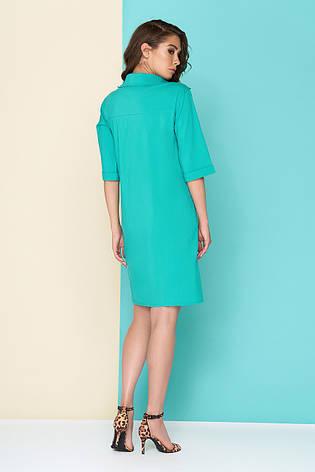 """Модное женское платье из хлопка """"L 602"""" (бирюза), фото 2"""