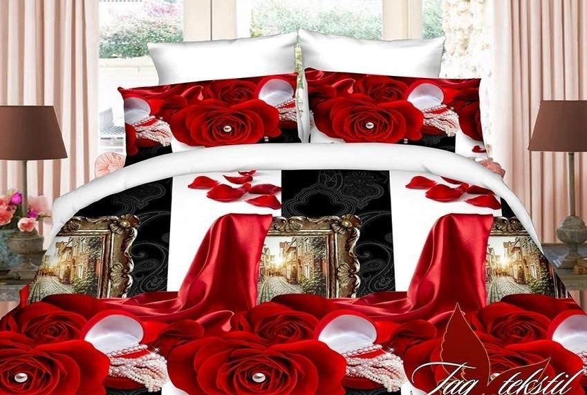 Семейный комплект постельного белья с Розами, Полисатин