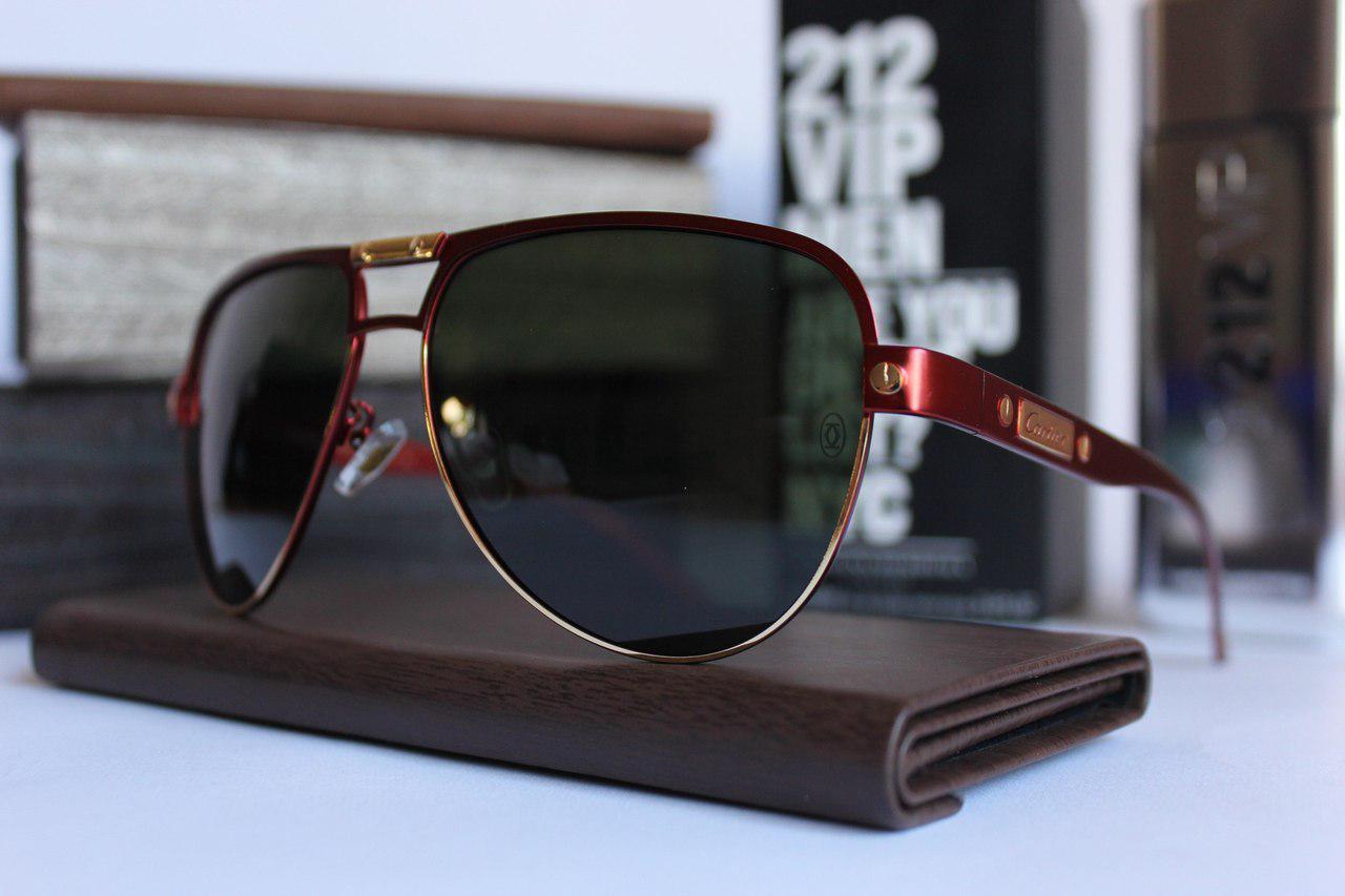 Мужские солнцезащитные очки Cartier Картьер тёмно-красные полароид (реплика)  - Что почём  f53739adfa7