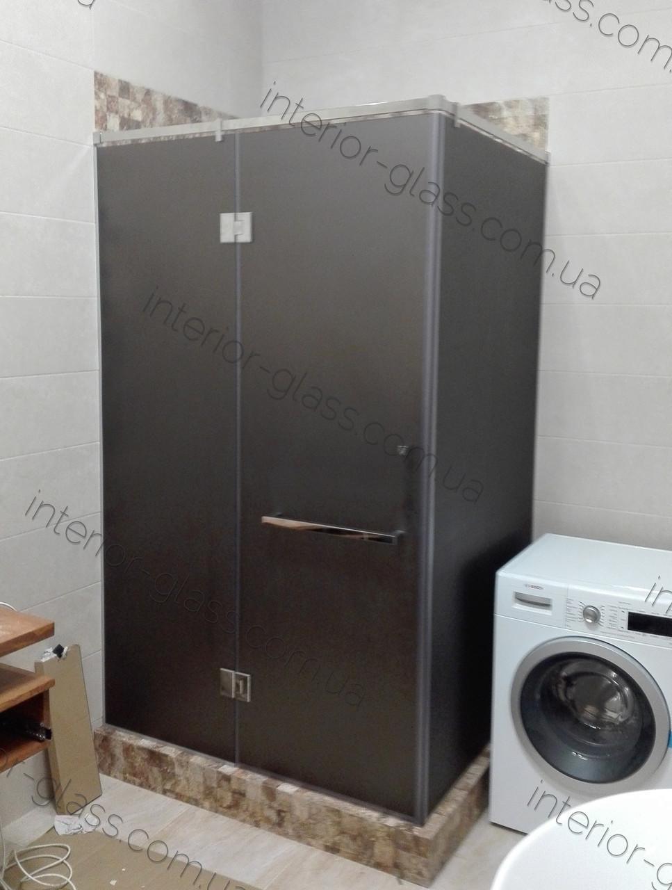 Душевая кабина угловая 1м*1,2м, с распашной дверью, стекло матовое тонированное