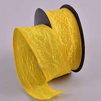 Лента декоративная из тафты жатка Цвет желтый